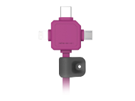 PowerCube USBcable USB-C CABLE, Pink, multi-vidlice (MicroUSB, Apple Lithning, USB-C), kabel 1,5m