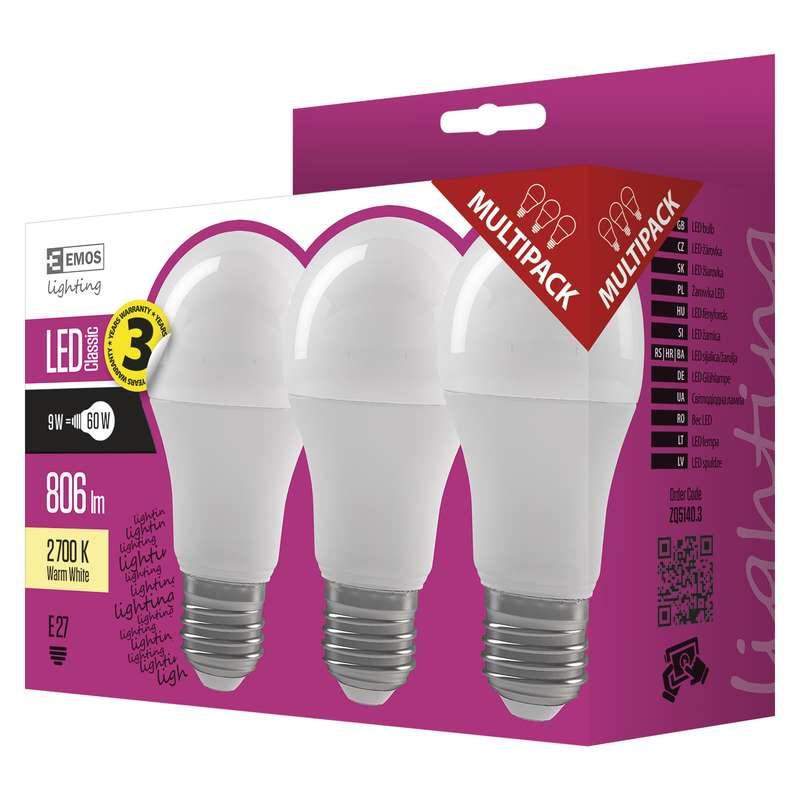 EMOS LED ŽÁROVKA CLASSIC A60 9W E27 teplá bílá 3ks; 1525733202
