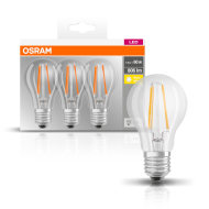 OSRAM LED Base CL A 60 7W/827 E27 FIL CL Box of 3