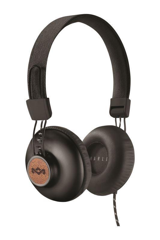 MARLEY Positive Vibration 2.0 - Signature Black, sluchátka přes hlavu s ovladačem a mikrofonem; EM-JH121-SB
