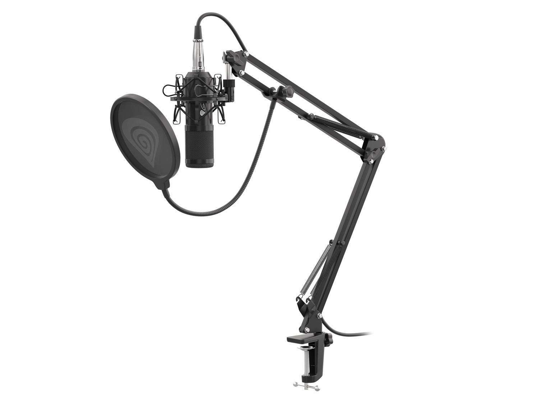Streamovací mikrofon Genesis Radium 300,XLR, kardioidní polarizace, ohybné rameno, pop-filter; NGM-1695