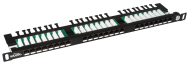 "19"" Patch panel Solarix 24xRJ45 CAT5E UTP černý"