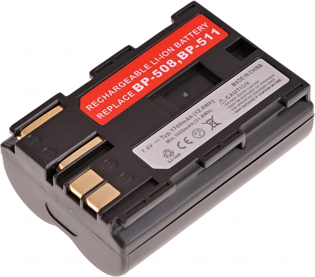 Baterie T6 power Canon BP-508, BP-511, BP-511A, BP-512, BP-514, 1700mAh, hnědá; DCCA0007