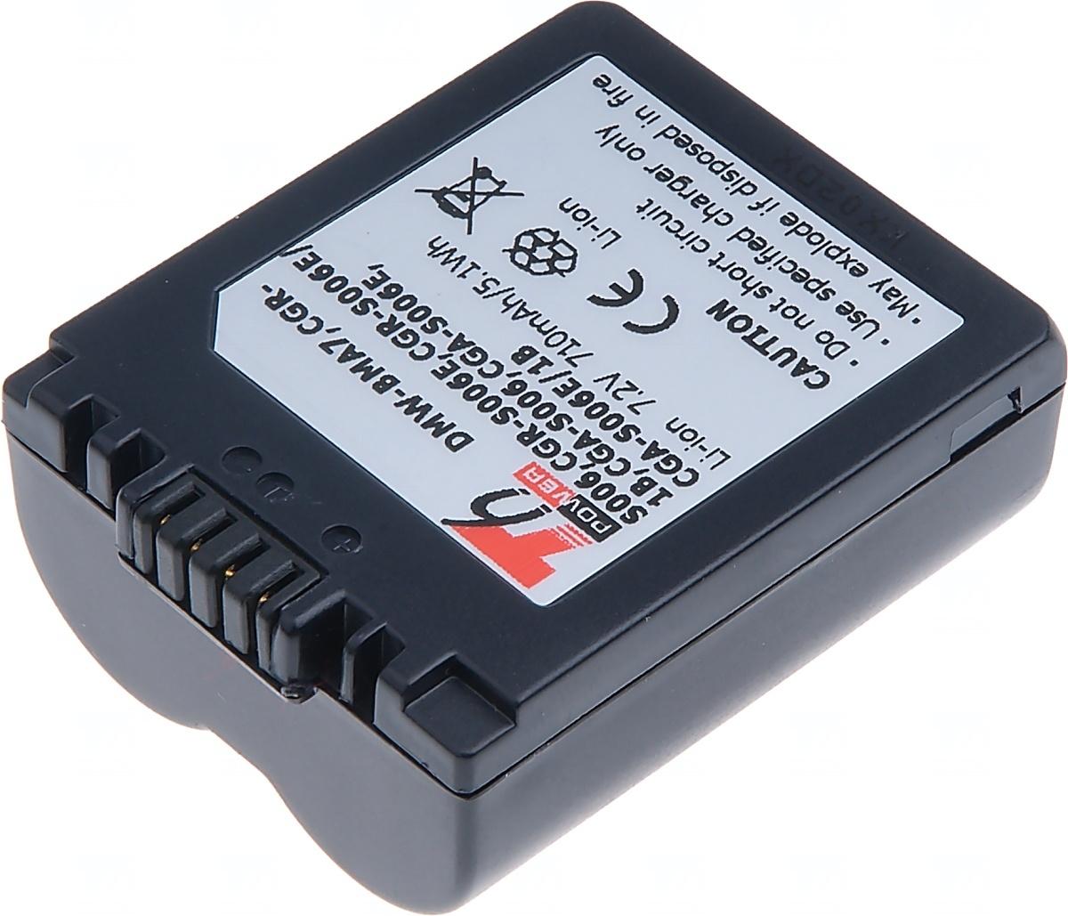 Baterie T6 power Panasonic DMW-BMA7, CGR-S006, CGR-S006E, CGA-S006, 710mAh, modrá; DCPA0011