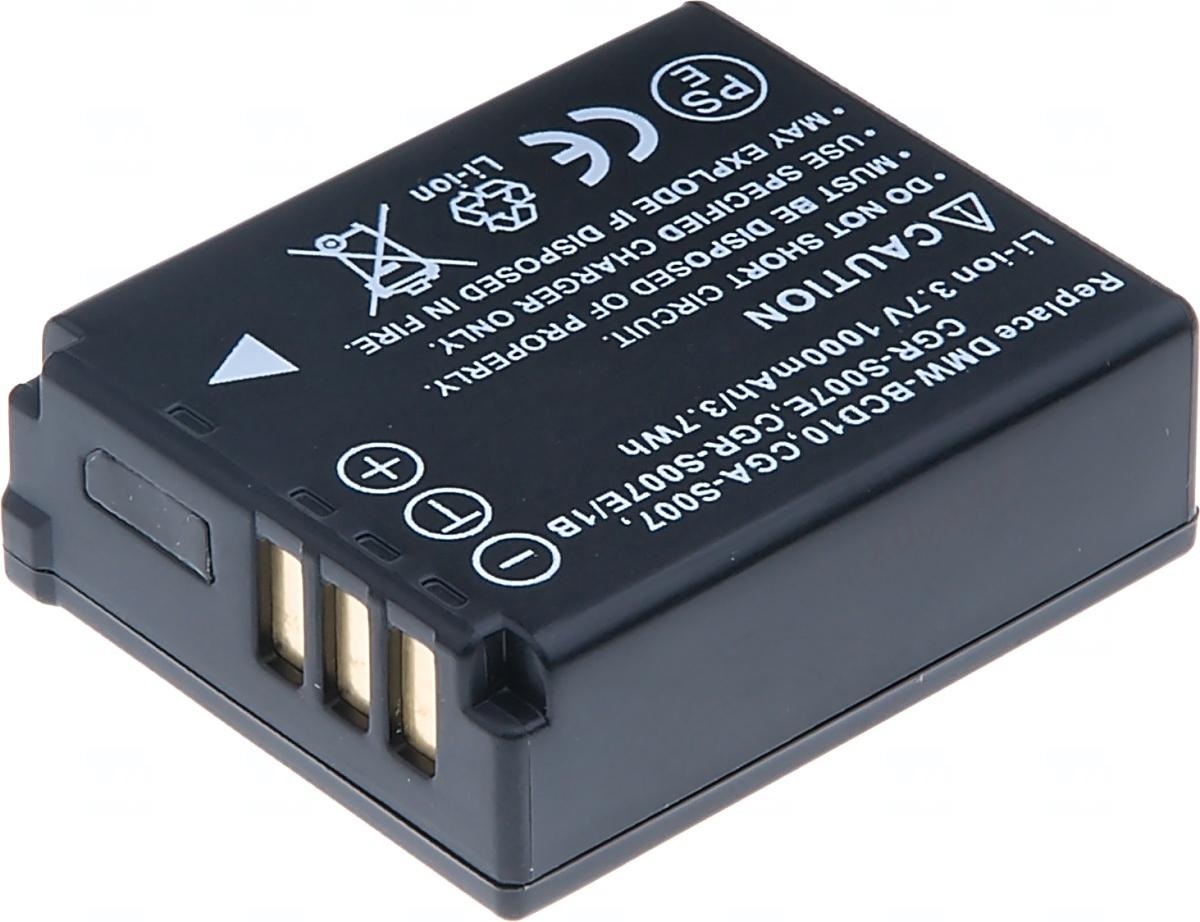 Baterie T6 power Panasonic DMW-BCD10, CGA-S007, CGR-S007E, CGR-S007E/1B, 1000mAh, černá; DCPA0012