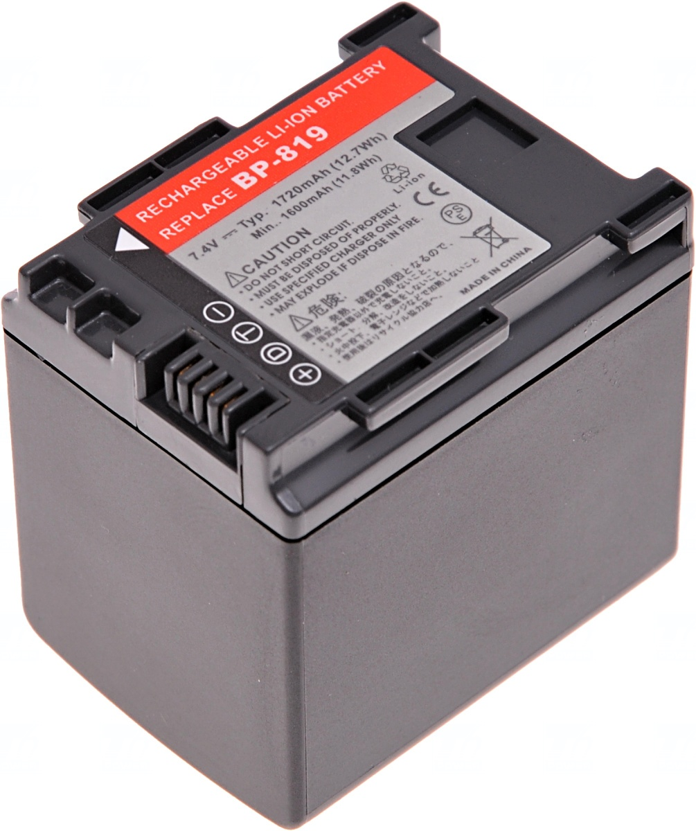 Baterie T6 power Canon BP-819, BP-808, BP-809, 1720mAh, 12,7Wh, černá; VCCA0033