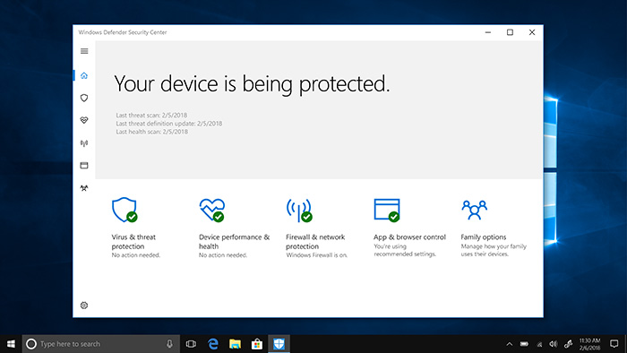 Windows Defender Antivirus Screen