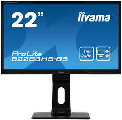 "22"" iiyama B2283HS-B5: TN, FullHD@75Hz, 250cd/m2, 1ms, VGA, HDMI, DP, height, pivot, černý"