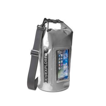 """Voděodolný vak CELLY Explorer 5L s kapsou na telefon do 6,2"""", šedý"""